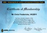 ARRL Membership Certificate
